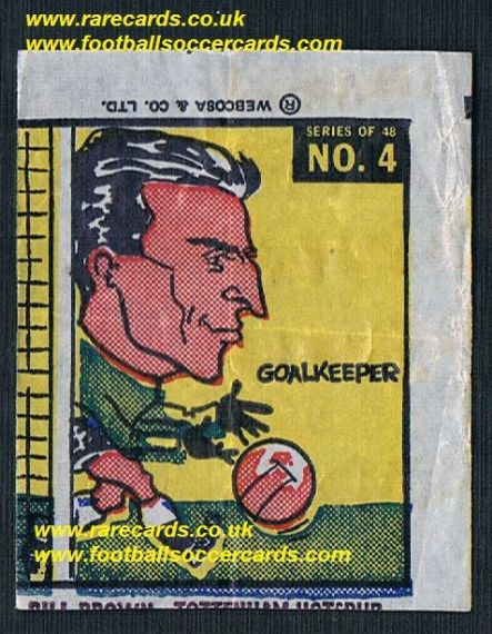 1960 Webcosa Bill Brown Tottenham Hotspur original wax paper gum insert